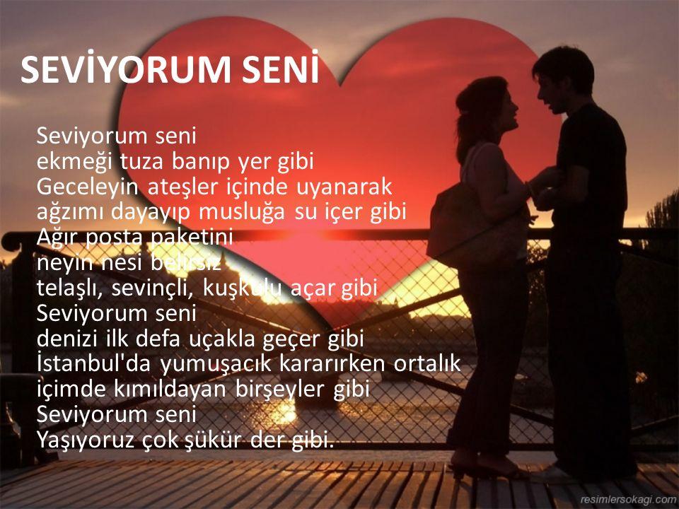 SEVİYORUM SENİ Seviyorum seni ekmeği tuza banıp yer gibi Geceleyin ateşler içinde uyanarak ağzımı dayayıp musluğa su içer gibi Ağır posta paketini neyin nesi belirsiz telaşlı, sevinçli, kuşkulu açar gibi Seviyorum seni denizi ilk defa uçakla geçer gibi İstanbul da yumuşacık kararırken ortalık içimde kımıldayan birşeyler gibi Seviyorum seni Yaşıyoruz çok şükür der gibi.