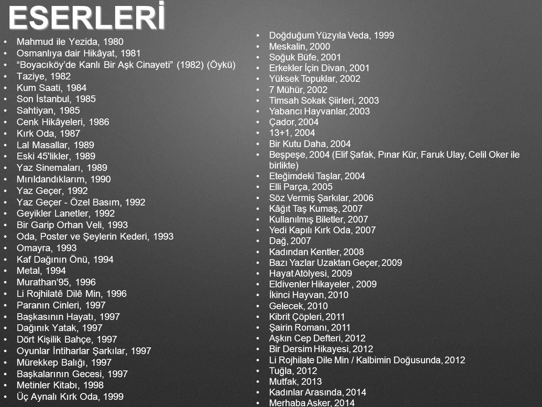 ESERLERİ Mahmud ile Yezida, 1980 Osmanlıya dair Hikâyat, 1981 Boyacıköy'de Kanlı Bir Aşk Cinayeti (1982) (Öykü) Taziye, 1982 Kum Saati, 1984 Son İstanbul, 1985 Sahtiyan, 1985 Cenk Hikâyeleri, 1986 Kırk Oda, 1987 Lal Masallar, 1989 Eski 45 likler, 1989 Yaz Sinemaları, 1989 Mırıldandıklarım, 1990 Yaz Geçer, 1992 Yaz Geçer - Özel Basım, 1992 Geyikler Lanetler, 1992 Bir Garip Orhan Veli, 1993 Oda, Poster ve Şeylerin Kederi, 1993 Omayra, 1993 Kaf Dağının Önü, 1994 Metal, 1994 Murathan'95, 1996 Li Rojhilatê Dilê Min, 1996 Paranın Cinleri, 1997 Başkasının Hayatı, 1997 Dağınık Yatak, 1997 Dört Kişilik Bahçe, 1997 Oyunlar İntiharlar Şarkılar, 1997 Mürekkep Balığı, 1997 Başkalarının Gecesi, 1997 Metinler Kitabı, 1998 Üç Aynalı Kırk Oda, 1999 Doğduğum Yüzyıla Veda, 1999 Meskalin, 2000 Soğuk Büfe, 2001 Erkekler İçin Divan, 2001 Yüksek Topuklar, 2002 7 Mühür, 2002 Timsah Sokak Şiirleri, 2003 Yabancı Hayvanlar, 2003 Çador, 2004 13+1, 2004 Bir Kutu Daha, 2004 Beşpeşe, 2004 (Elif Şafak, Pınar Kür, Faruk Ulay, Celil Oker ile birlikte) Eteğimdeki Taşlar, 2004 Elli Parça, 2005 Söz Vermiş Şarkılar, 2006 Kâğıt Taş Kumaş, 2007 Kullanılmış Biletler, 2007 Yedi Kapılı Kırk Oda, 2007 Dağ, 2007 Kadından Kentler, 2008 Bazı Yazlar Uzaktan Geçer, 2009 Hayat Atölyesi, 2009 Eldivenler Hikayeler, 2009 İkinci Hayvan, 2010 Gelecek, 2010 Kibrit Çöpleri, 2011 Şairin Romanı, 2011 Aşkın Cep Defteri, 2012 Bir Dersim Hikayesi, 2012 Li Rojhilate Dile Min / Kalbimin Doğusunda, 2012 Tuğla, 2012 Mutfak, 2013 Kadınlar Arasında, 2014 Merhaba Asker, 2014