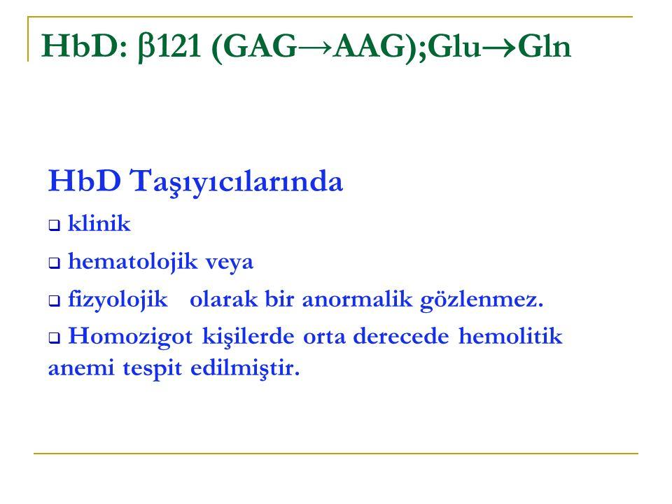 HbD Taşıyıcılarında  klinik  hematolojik veya  fizyolojik olarak bir anormalik gözlenmez.
