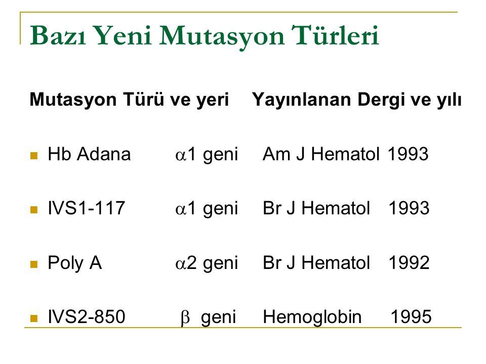 Bazı Yeni Mutasyon Türleri Mutasyon Türü ve yeri Hb Adana  1 geni IVS1-117  1 geni Poly A  2 geni IVS2-850  geni Yayınlanan Dergi ve yılı Am J Hematol 1993 Br J Hematol 1993 Br J Hematol 1992 Hemoglobin 1995