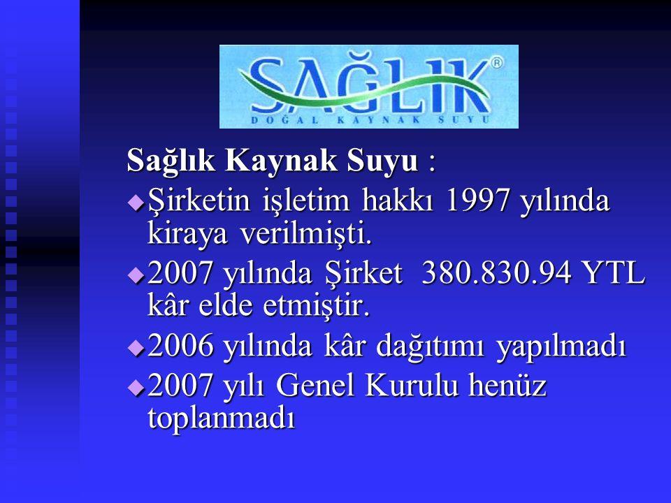 Sağlık Kaynak Suyu :  Şirketin işletim hakkı 1997 yılında kiraya verilmişti.  2007 yılında Şirket 380.830.94 YTL kâr elde etmiştir.  2006 yılında k