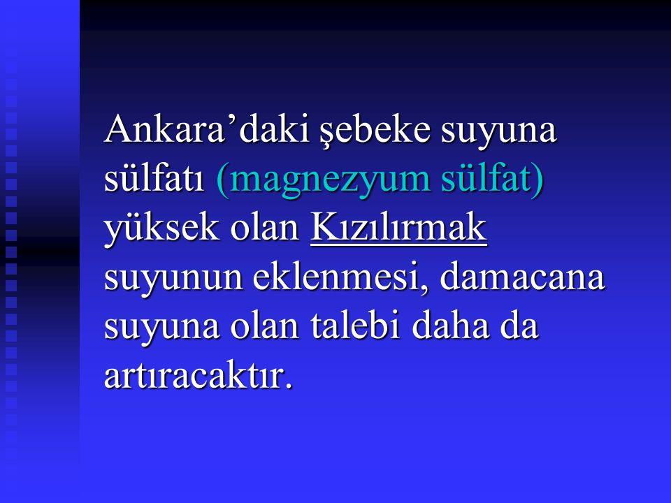 Ankara'daki şebeke suyuna sülfatı (magnezyum sülfat) yüksek olan Kızılırmak suyunun eklenmesi, damacana suyuna olan talebi daha da artıracaktır.