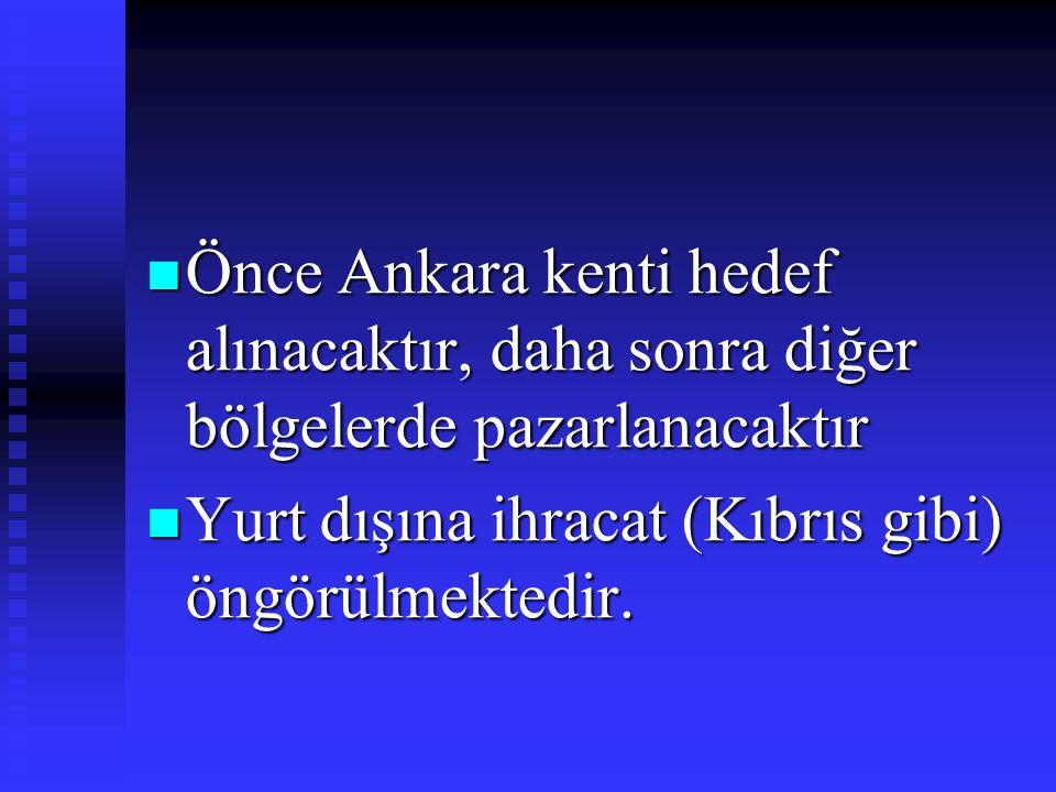 Önce Ankara kenti hedef alınacaktır, daha sonra diğer bölgelerde pazarlanacaktır Önce Ankara kenti hedef alınacaktır, daha sonra diğer bölgelerde paza