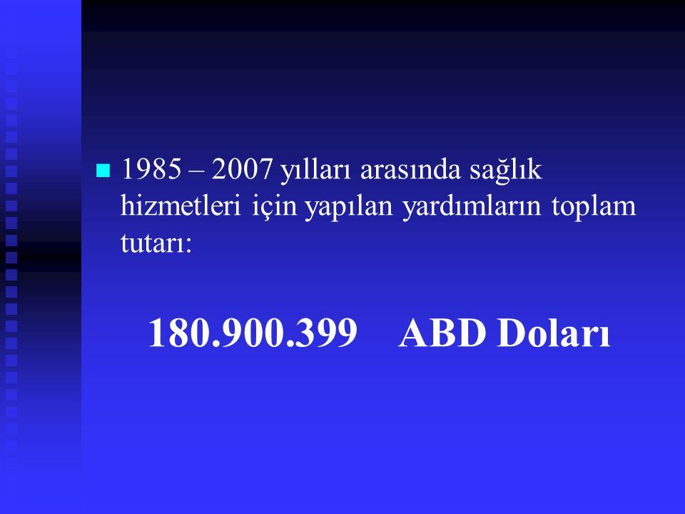 1985 – 2007 yılları arasında sağlık hizmetleri için yapılan yardımların toplam tutarı: 180.900.399 ABD Doları