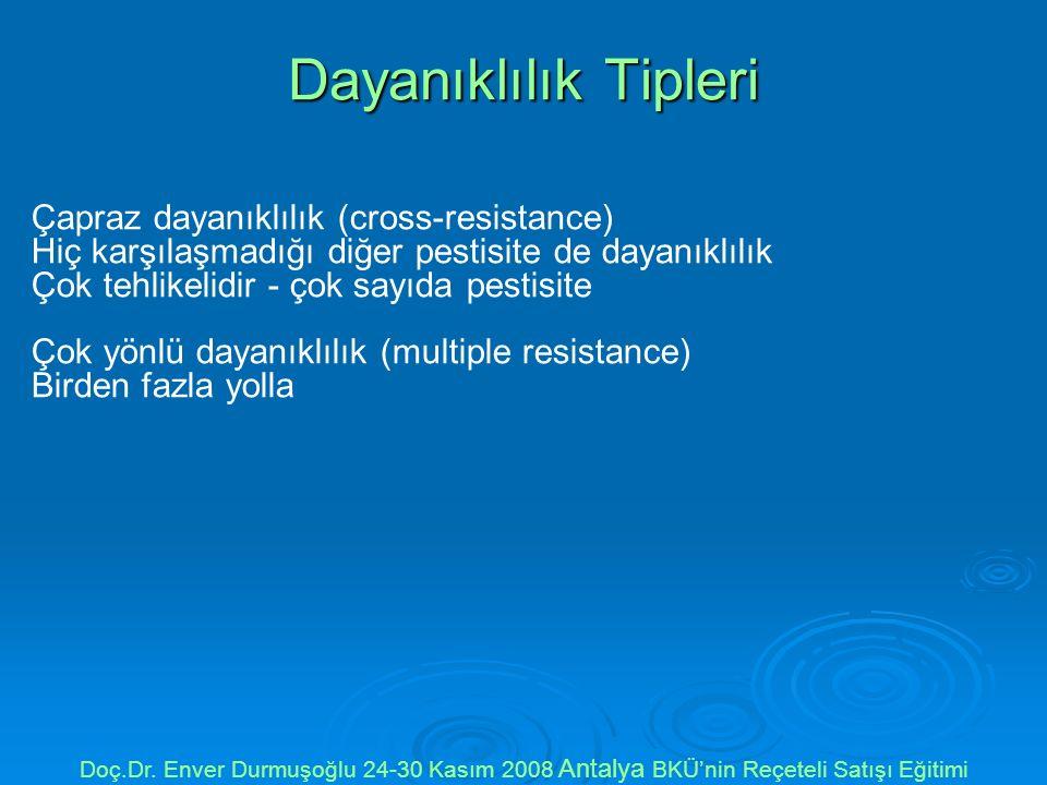Dayanıklılık Tipleri Çapraz dayanıklılık (cross-resistance) Hiç karşılaşmadığı diğer pestisite de dayanıklılık Çok tehlikelidir - çok sayıda pestisite Çok yönlü dayanıklılık (multiple resistance) Birden fazla yolla Doç.Dr.