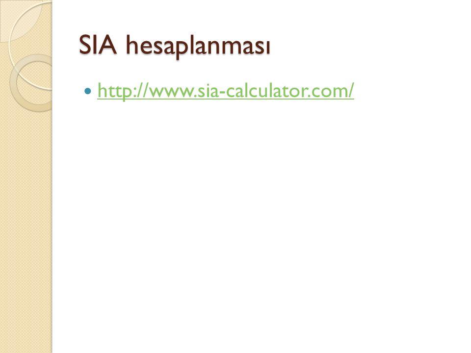 SIA hesaplanması http://www.sia-calculator.com/