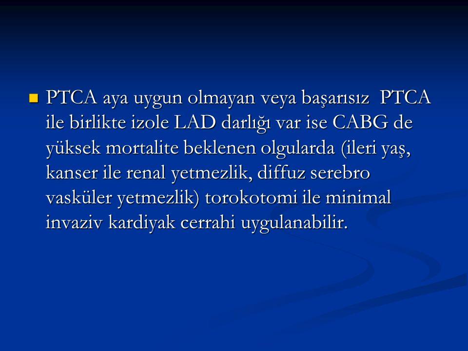 PTCA aya uygun olmayan veya başarısız PTCA ile birlikte izole LAD darlığı var ise CABG de yüksek mortalite beklenen olgularda (ileri yaş, kanser ile r