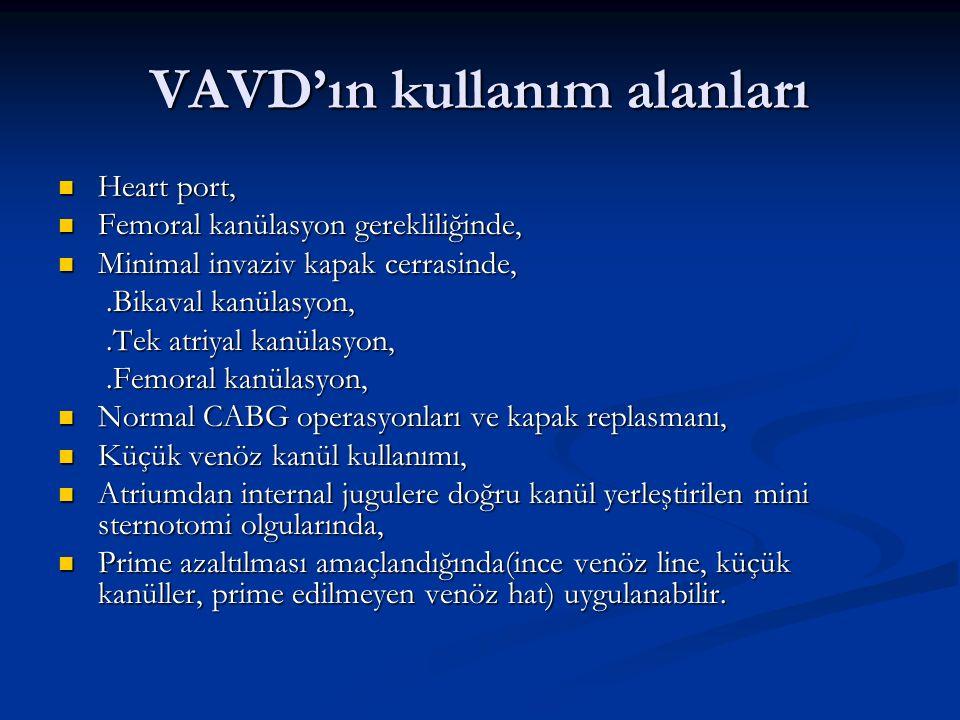 VAVD'ın kullanım alanları Heart port, Heart port, Femoral kanülasyon gerekliliğinde, Femoral kanülasyon gerekliliğinde, Minimal invaziv kapak cerrasin