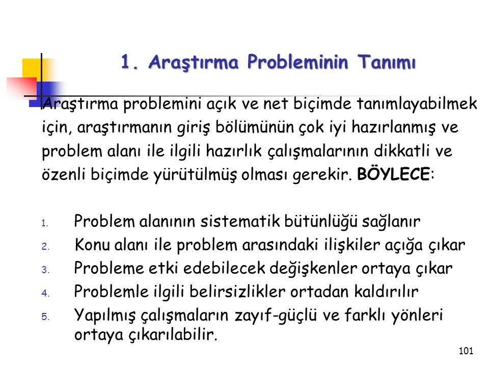 101 1. Araştırma Probleminin Tanımı Araştırma problemini açık ve net biçimde tanımlayabilmek için, araştırmanın giriş bölümünün çok iyi hazırlanmış ve
