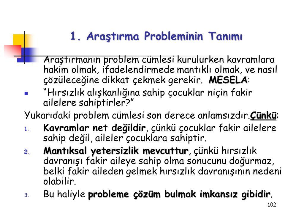 102 1. Araştırma Probleminin Tanımı MESELA Araştırmanın problem cümlesi kurulurken kavramlara hakim olmak, ifadelendirmede mantıklı olmak, ve nasıl çö