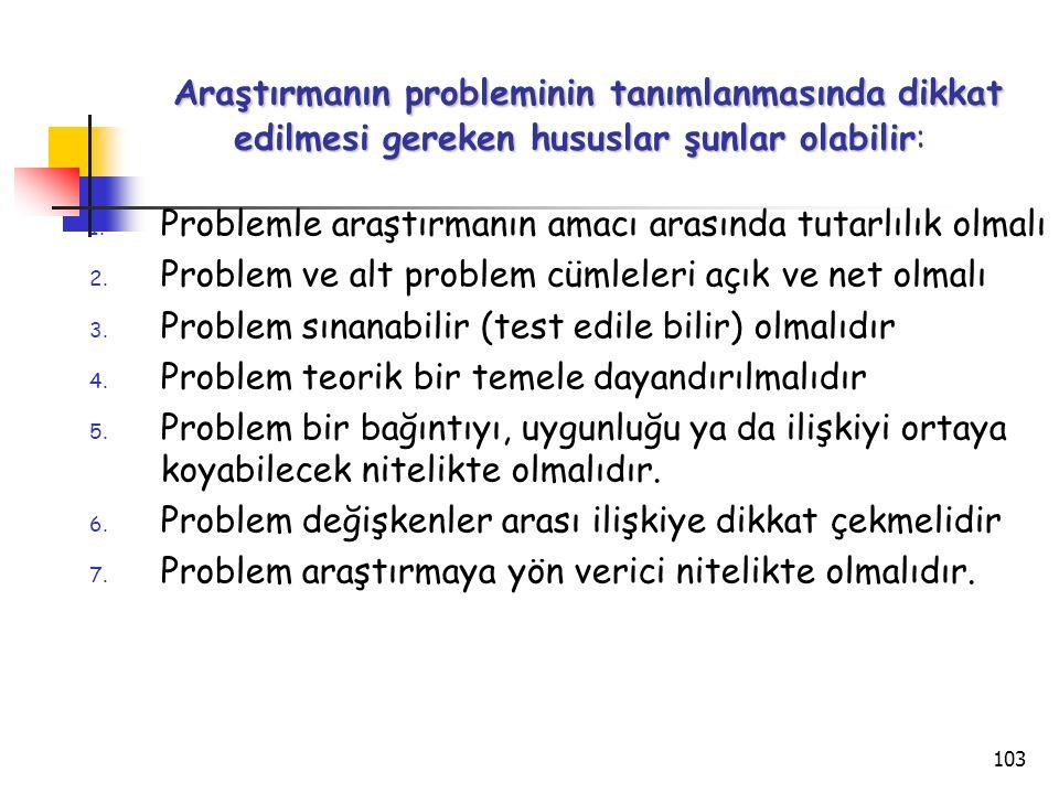 103 Araştırmanın probleminin tanımlanmasında dikkat edilmesi gereken hususlar şunlar olabilir Araştırmanın probleminin tanımlanmasında dikkat edilmesi