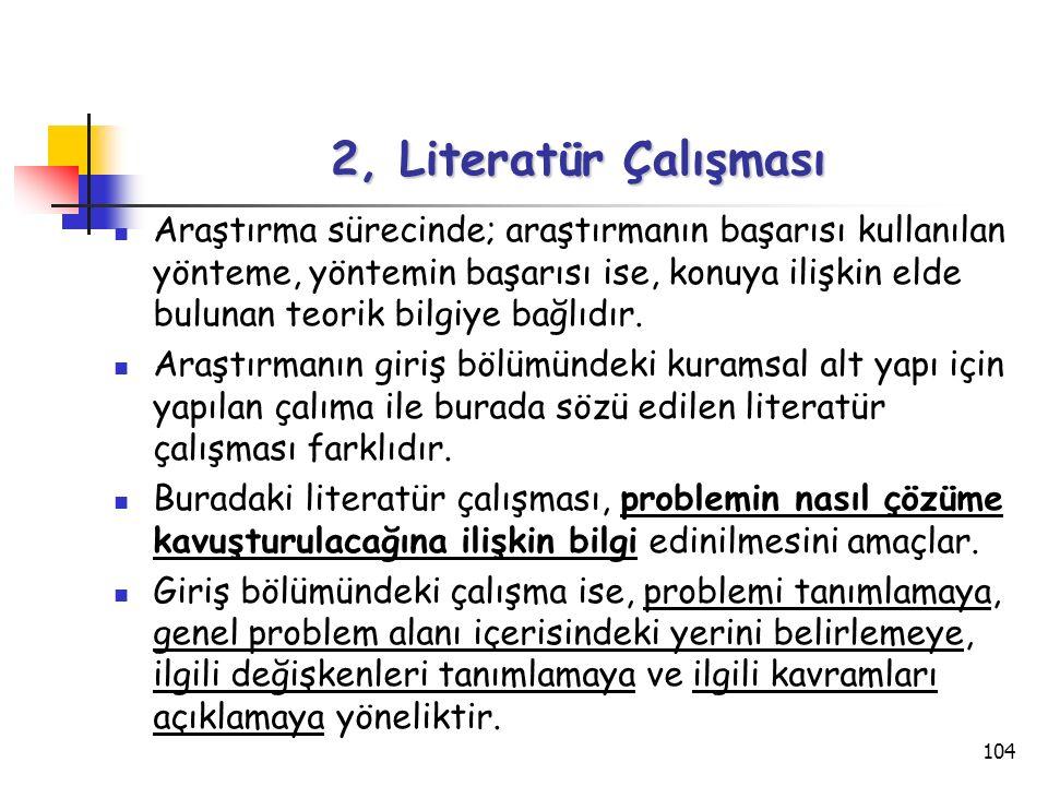 104 2, Literatür Çalışması Araştırma sürecinde; araştırmanın başarısı kullanılan yönteme, yöntemin başarısı ise, konuya ilişkin elde bulunan teorik bi