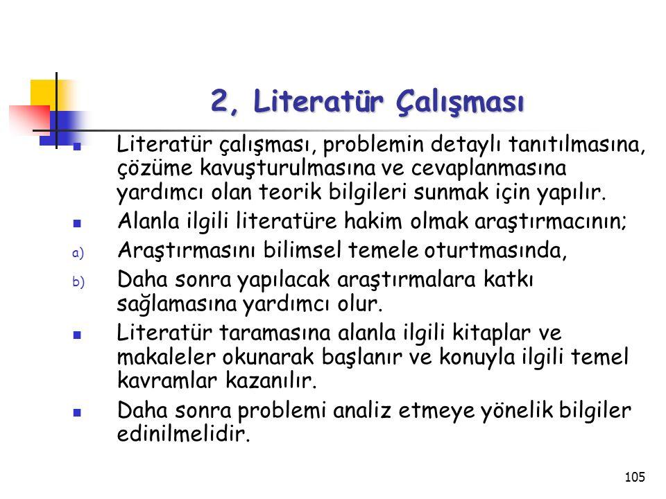 105 2, Literatür Çalışması Literatür çalışması, problemin detaylı tanıtılmasına, çözüme kavuşturulmasına ve cevaplanmasına yardımcı olan teorik bilgil