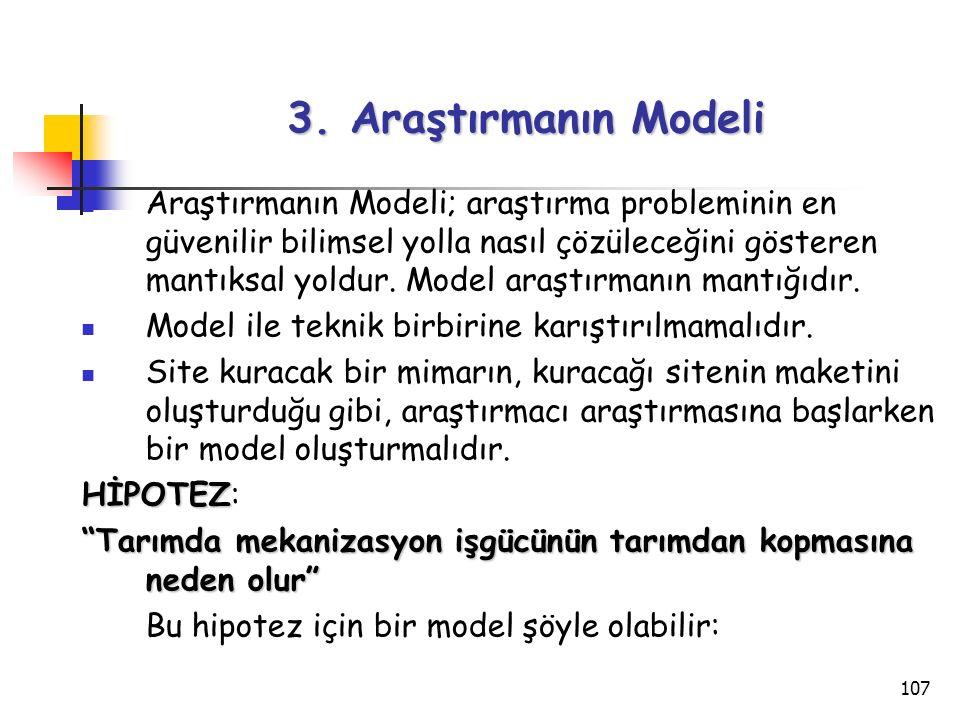 107 3. Araştırmanın Modeli Araştırmanın Modeli; araştırma probleminin en güvenilir bilimsel yolla nasıl çözüleceğini gösteren mantıksal yoldur. Model