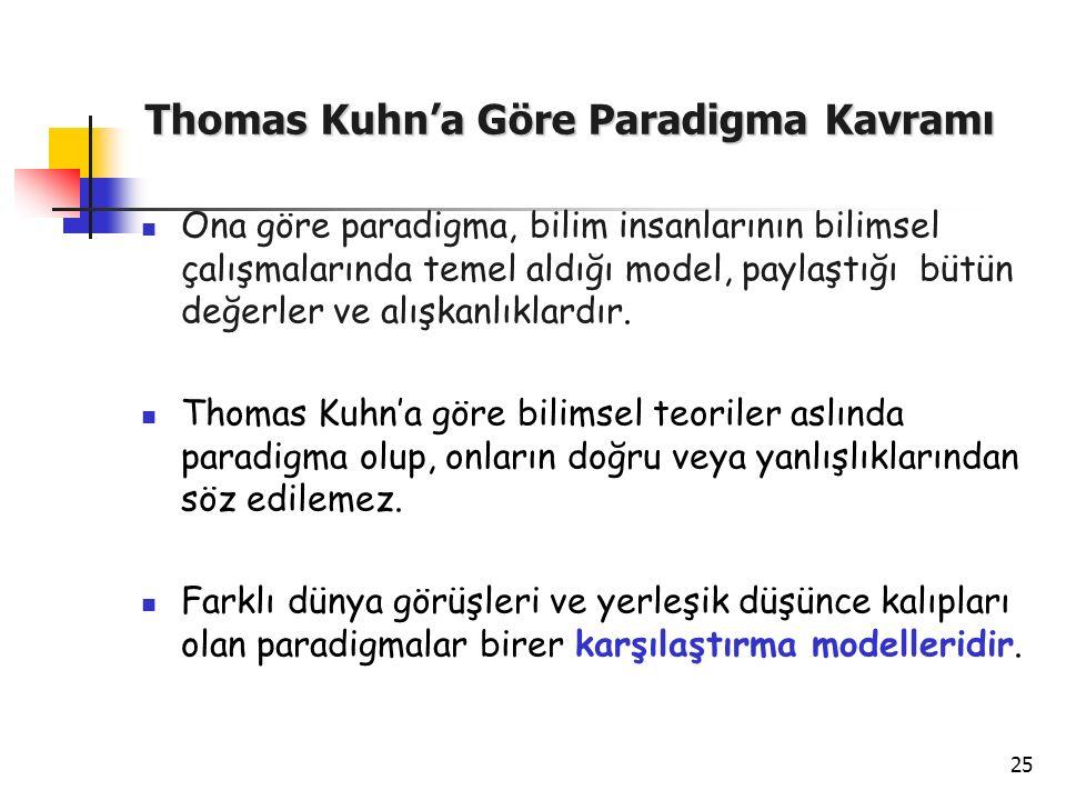 25 Thomas Kuhn'a Göre Paradigma Kavramı Ona göre paradigma, bilim insanlarının bilimsel çalışmalarında temel aldığı model, paylaştığı bütün değerler v