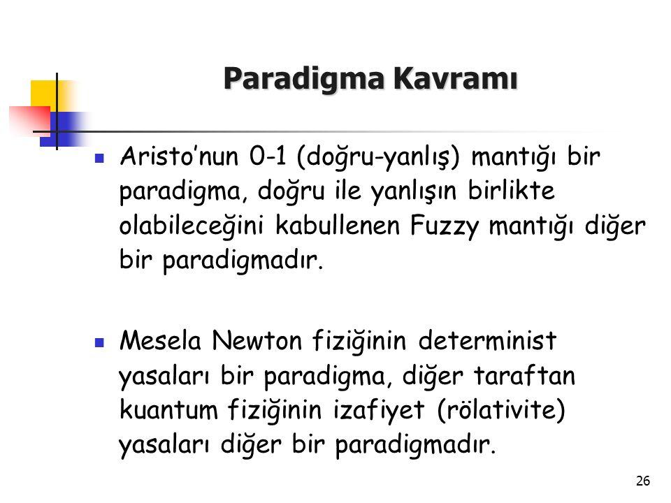 26 Paradigma Kavramı Aristo'nun 0-1 (doğru-yanlış) mantığı bir paradigma, doğru ile yanlışın birlikte olabileceğini kabullenen Fuzzy mantığı diğer bir
