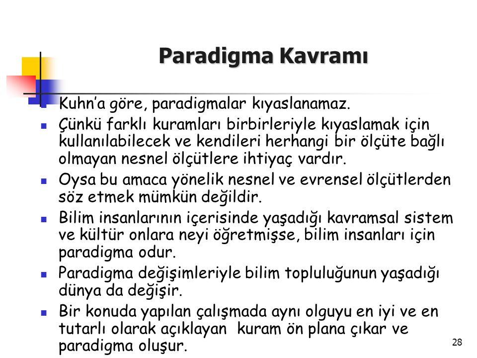 28 Paradigma Kavramı Kuhn'a göre, paradigmalar kıyaslanamaz. Çünkü farklı kuramları birbirleriyle kıyaslamak için kullanılabilecek ve kendileri herhan