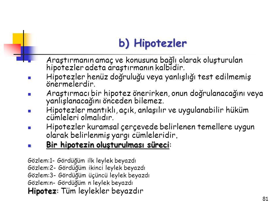 81 b) Hipotezler Araştırmanın amaç ve konusuna bağlı olarak oluşturulan hipotezler adeta araştırmanın kalbidir. Hipotezler henüz doğruluğu veya yanlış