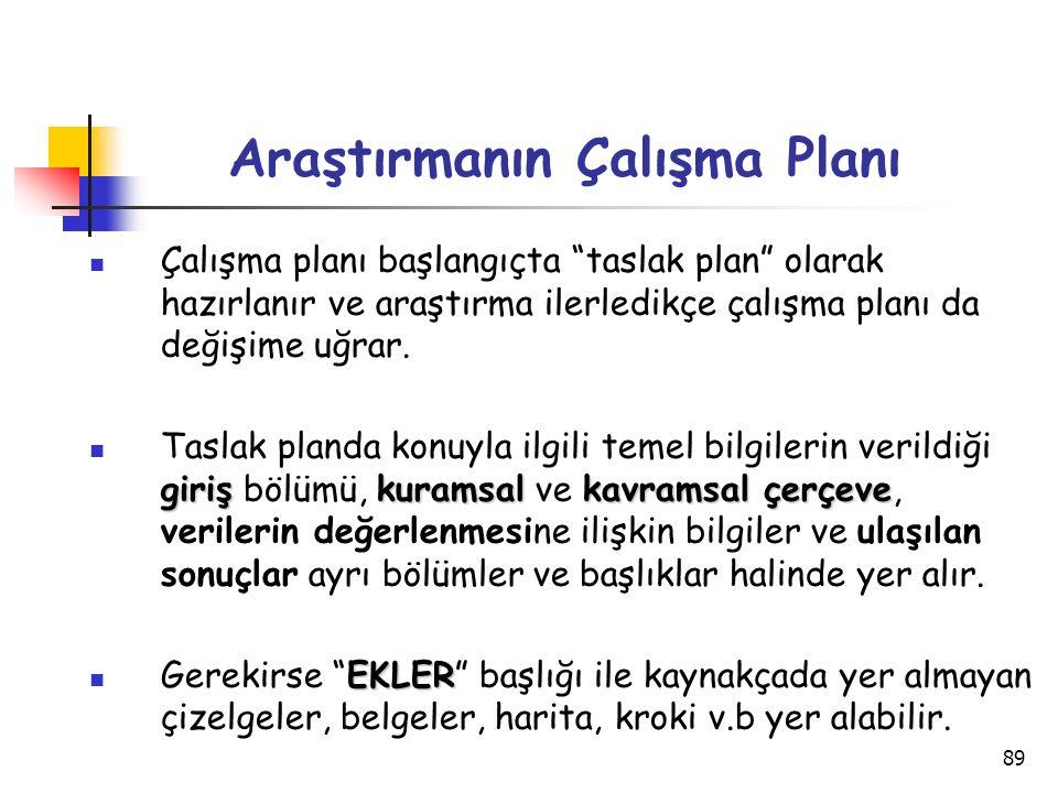 """89 Araştırmanın Çalışma Planı Çalışma planı başlangıçta """"taslak plan"""" olarak hazırlanır ve araştırma ilerledikçe çalışma planı da değişime uğrar. giri"""