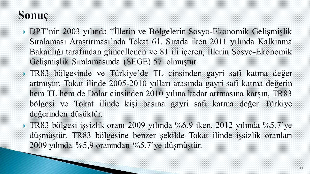  DPT'nin 2003 yılında İllerin ve Bölgelerin Sosyo-Ekonomik Gelişmişlik Sıralaması Araştırması'nda Tokat 61.