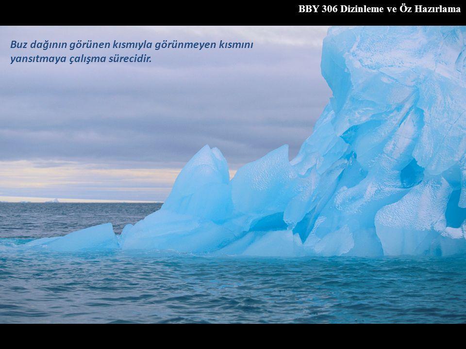 Buz dağının görünen kısmıyla görünmeyen kısmını yansıtmaya çalışma sürecidir.