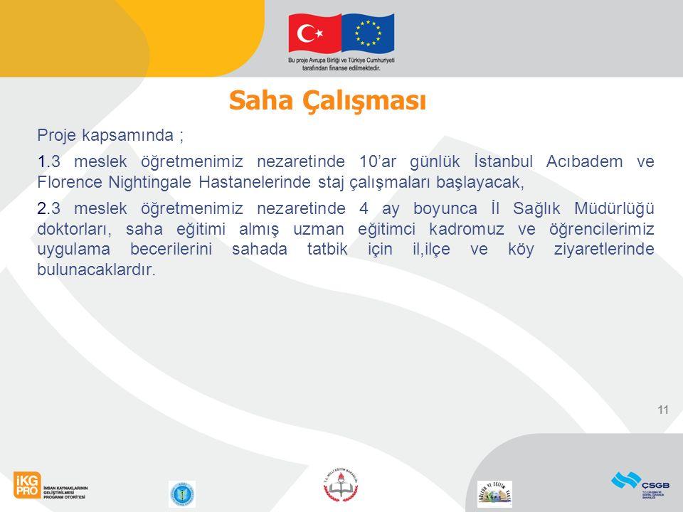 Proje kapsamında ; 1.3 meslek öğretmenimiz nezaretinde 10'ar günlük İstanbul Acıbadem ve Florence Nightingale Hastanelerinde staj çalışmaları başlayac