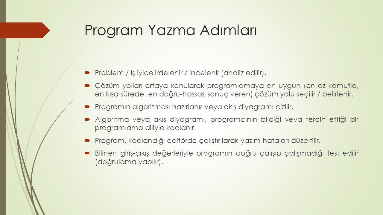 Program Yazma Adımları  Problem / iş iyice irdelenir / incelenir (analiz edilir).
