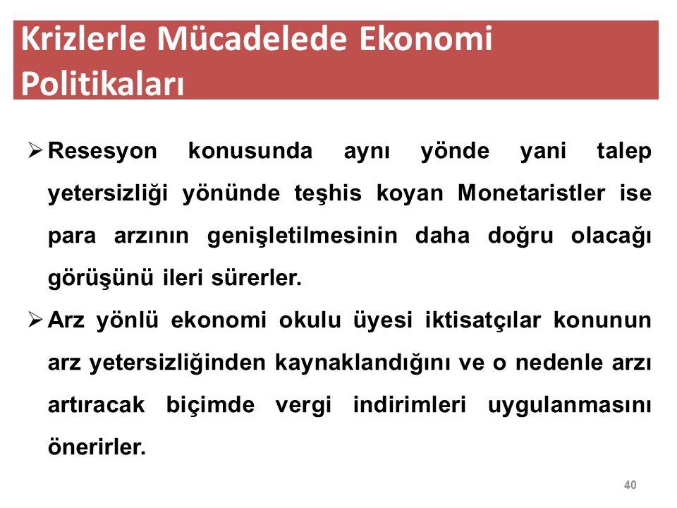 Krizlerle Mücadelede Ekonomi Politikaları 41  Ekonomik krizlerde hangi ekonomi politikasının seçilip uygulanacağı konusu krizin çeşidine, derinliğine ve ülkenin ekonomik ve sosyal koşullarına yakından bağlıdır.