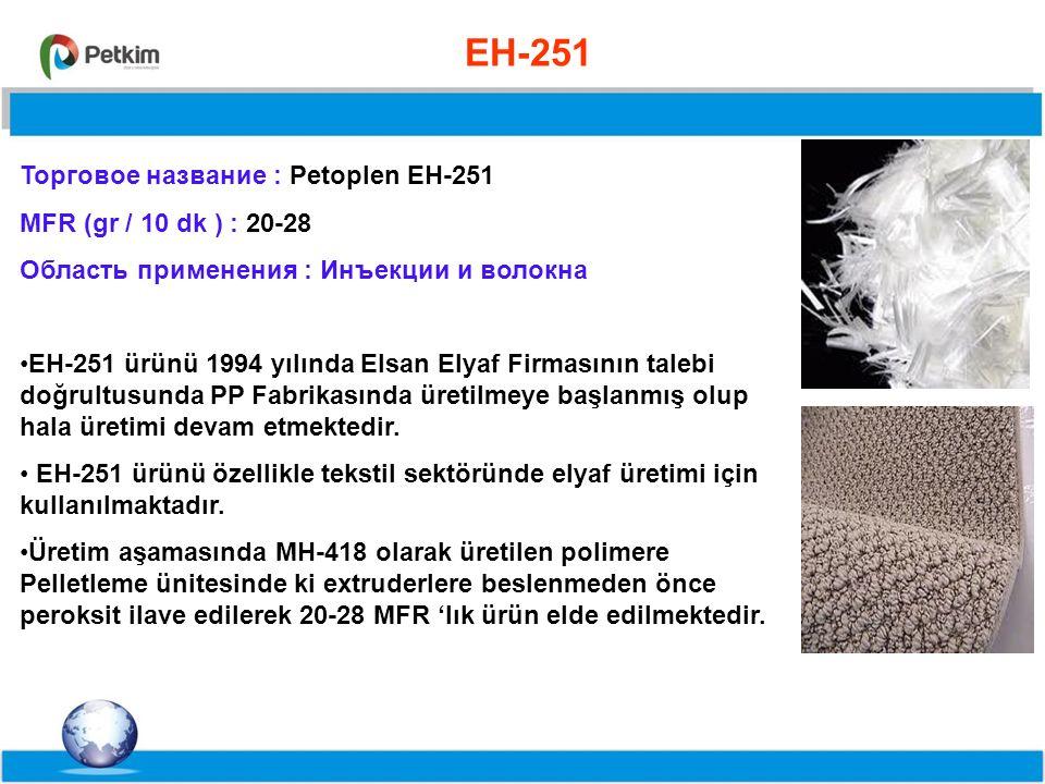 %55,8%71,5%63 EH-251 Торговое название : Petoplen EH-251 MFR (gr / 10 dk ) : 20-28 Область применения : Инъекции и волокна EH-251 ürünü 1994 yılında Elsan Elyaf Firmasının talebi doğrultusunda PP Fabrikasında üretilmeye başlanmış olup hala üretimi devam etmektedir.