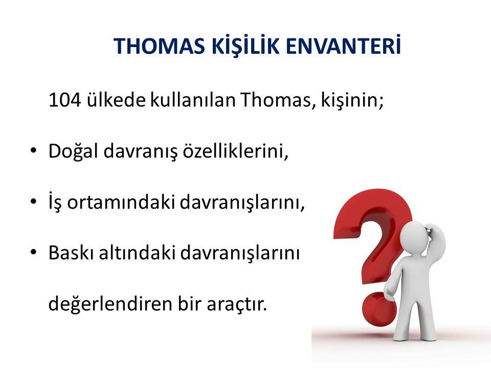 104 ülkede kullanılan Thomas, kişinin; Doğal davranış özelliklerini, İş ortamındaki davranışlarını, Baskı altındaki davranışlarını değerlendiren bir araçtır.