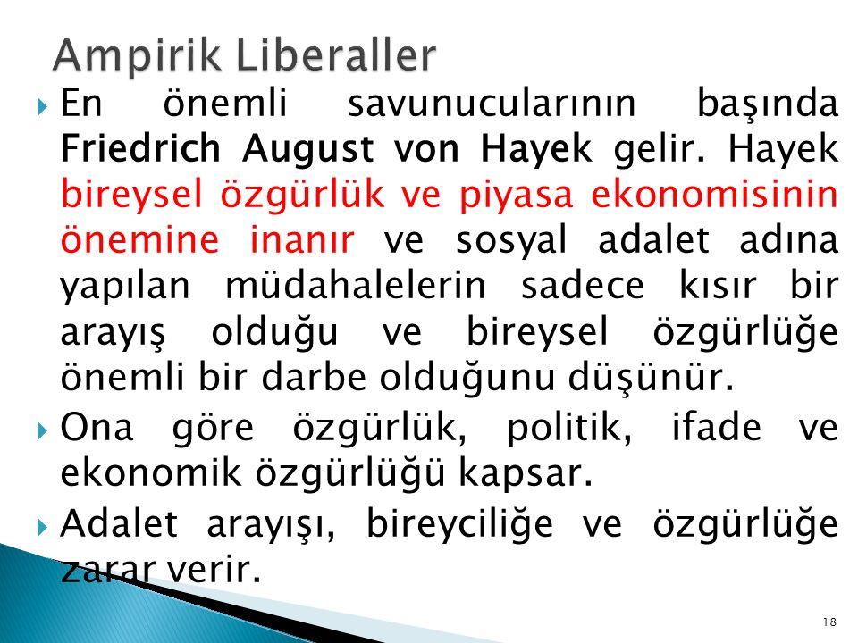  En önemli savunucularının başında Friedrich August von Hayek gelir. Hayek bireysel özgürlük ve piyasa ekonomisinin önemine inanır ve sosyal adalet a