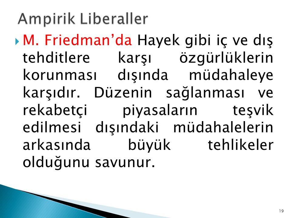  M. Friedman'da Hayek gibi iç ve dış tehditlere karşı özgürlüklerin korunması dışında müdahaleye karşıdır. Düzenin sağlanması ve rekabetçi piyasaları