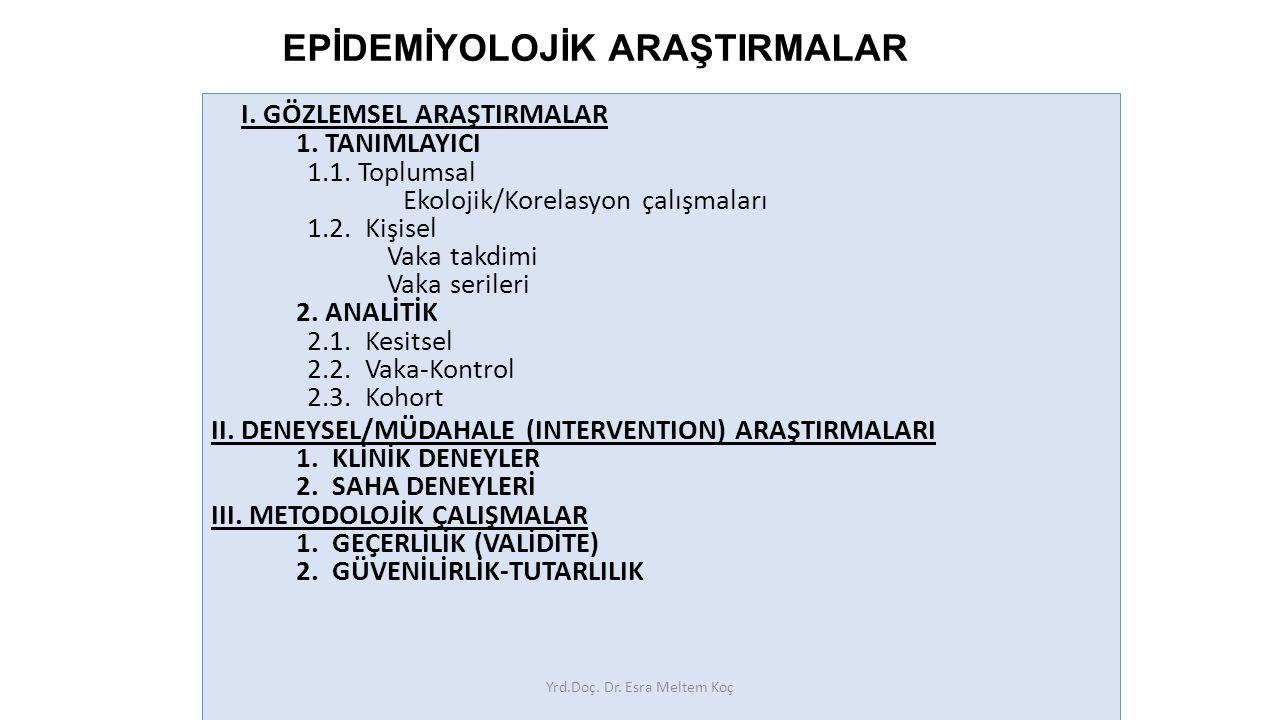 12 EPİDEMİYOLOJİK ARAŞTIRMALAR I.GÖZLEMSEL ARAŞTIRMALAR 1.