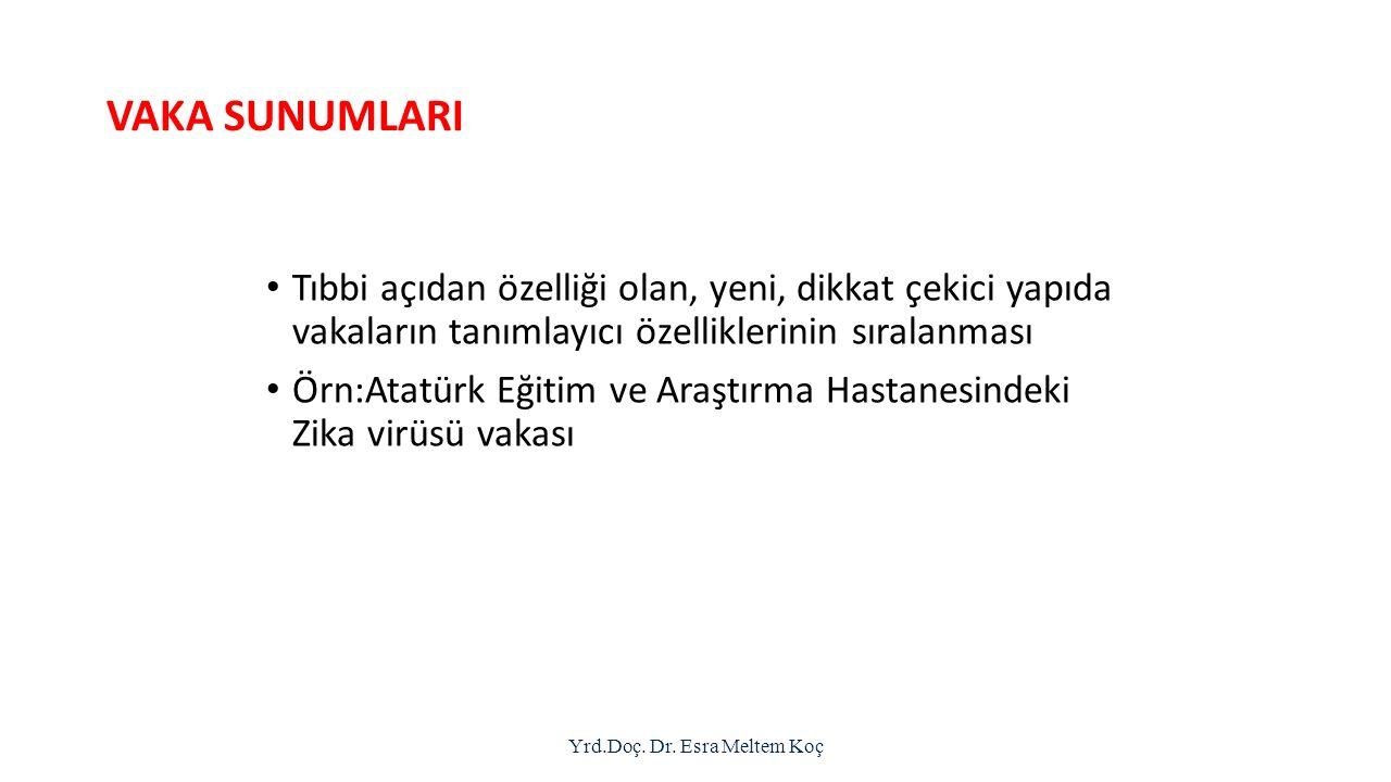 VAKA SUNUMLARI Tıbbi açıdan özelliği olan, yeni, dikkat çekici yapıda vakaların tanımlayıcı özelliklerinin sıralanması Örn:Atatürk Eğitim ve Araştırma Hastanesindeki Zika virüsü vakası Yrd.Doç.
