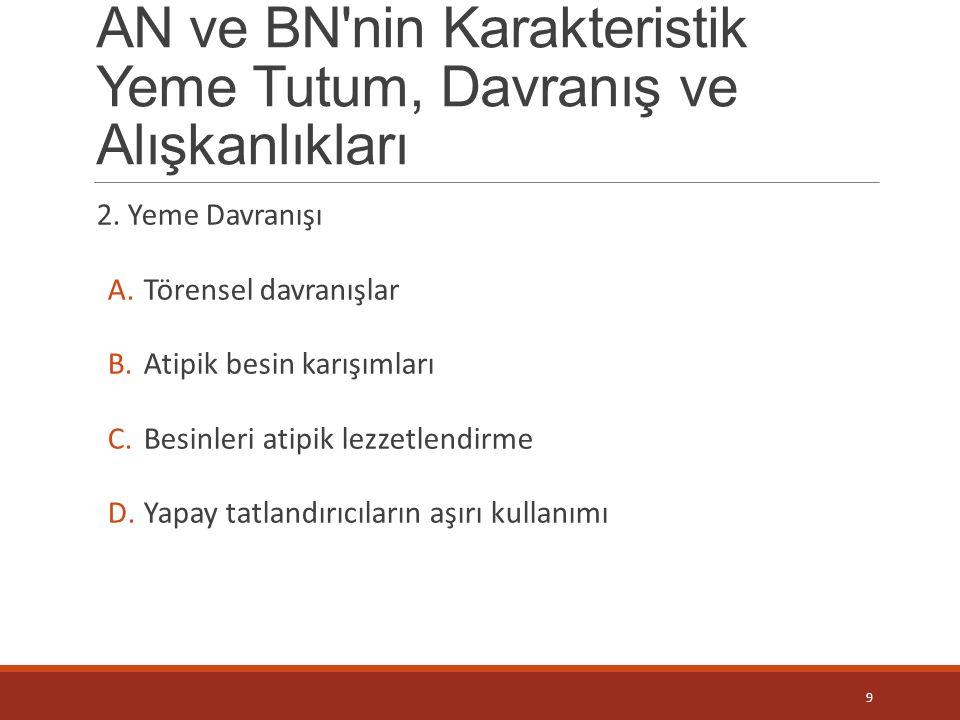 AN ve BN nin Karakteristik Yeme Tutum, Davranış ve Alışkanlıkları 3.Yeme Alışkanlıkları A.