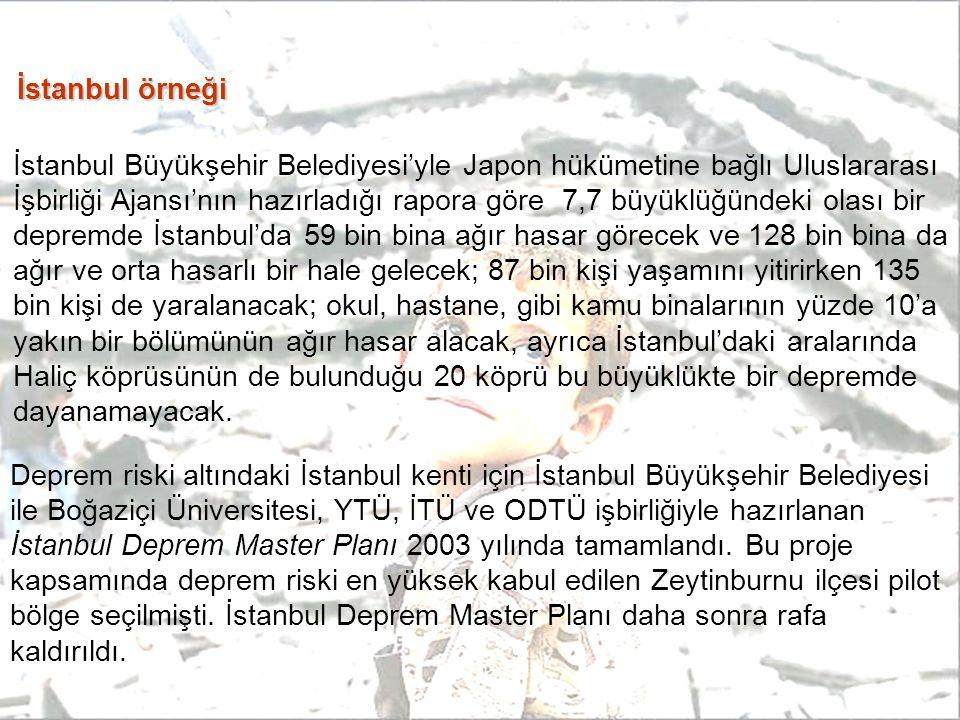 İstanbul örneği İstanbul Büyükşehir Belediyesi'yle Japon hükümetine bağlı Uluslararası İşbirliği Ajansı'nın hazırladığı rapora göre 7,7 büyüklüğündeki olası bir depremde İstanbul'da 59 bin bina ağır hasar görecek ve 128 bin bina da ağır ve orta hasarlı bir hale gelecek; 87 bin kişi yaşamını yitirirken 135 bin kişi de yaralanacak; okul, hastane, gibi kamu binalarının yüzde 10'a yakın bir bölümünün ağır hasar alacak, ayrıca İstanbul'daki aralarında Haliç köprüsünün de bulunduğu 20 köprü bu büyüklükte bir depremde dayanamayacak.