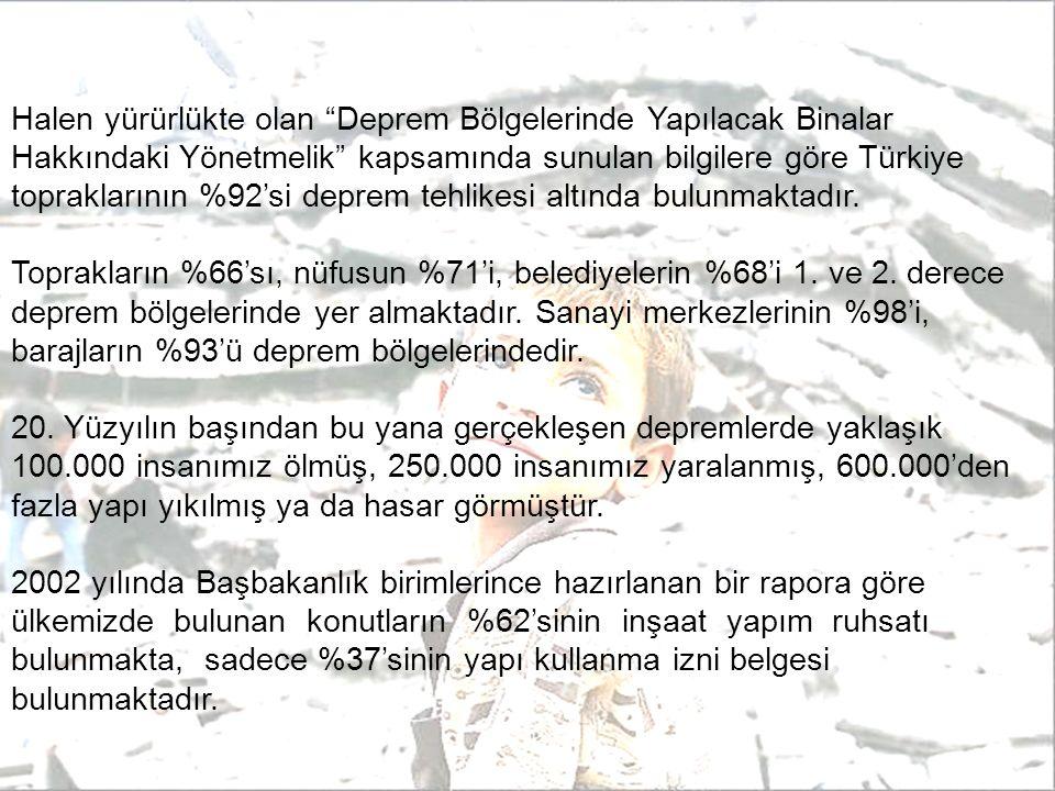 Halen yürürlükte olan Deprem Bölgelerinde Yapılacak Binalar Hakkındaki Yönetmelik kapsamında sunulan bilgilere göre Türkiye topraklarının %92'si deprem tehlikesi altında bulunmaktadır.