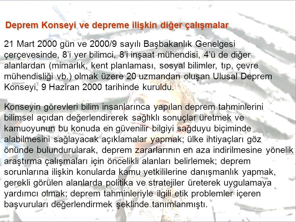 Deprem Konseyi ve depreme ilişkin diğer çalışmalar 21 Mart 2000 gün ve 2000/9 sayılı Başbakanlık Genelgesi çerçevesinde, 8'i yer bilimci, 8'i inşaat m