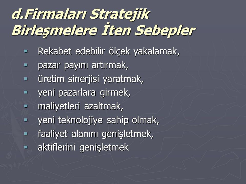 d.Firmaları Stratejik Birleşmelere İten Sebepler  Rekabet edebilir ölçek yakalamak,  pazar payını artırmak,  üretim sinerjisi yaratmak,  yeni pazarlara girmek,  maliyetleri azaltmak,  yeni teknolojiye sahip olmak,  faaliyet alanını genişletmek,  aktiflerini genişletmek