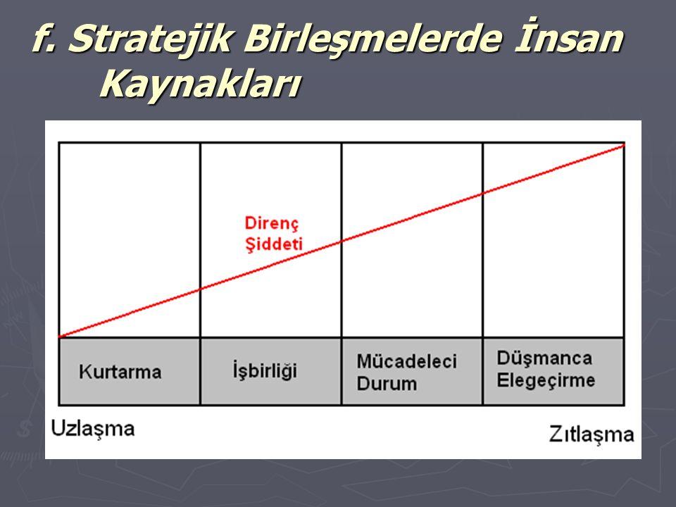 f. Stratejik Birleşmelerde İnsan Kaynakları