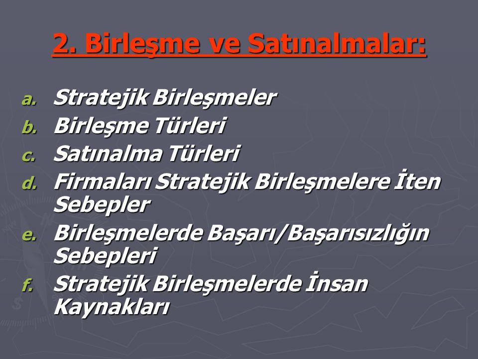 2. Birleşme ve Satınalmalar: a. Stratejik Birleşmeler b.