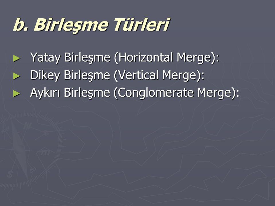b. Birleşme Türleri ► Yatay Birleşme (Horizontal Merge): ► Dikey Birleşme (Vertical Merge): ► Aykırı Birleşme (Conglomerate Merge):