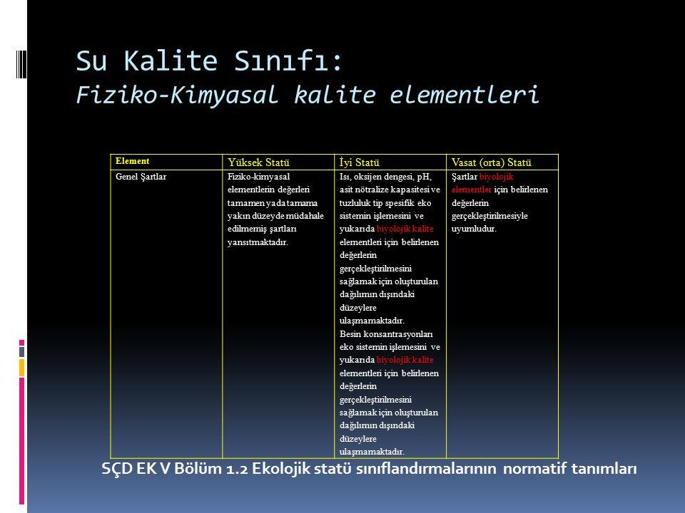 Su Kalite Sınıfı: Fiziko-Kimyasal kalite elementleri ElementYüksek Statüİyi StatüVasat (orta) Statü Spesifik sentetik kirleticiler Konsantrasyonlar sıfıra yakındır yada en azından genel olarak kullanılan en ileri analitik tekniklerin tespit sınırlarının altındadır.
