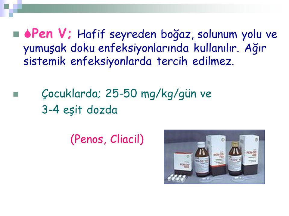  Pen V; Hafif seyreden boğaz, solunum yolu ve yumuşak doku enfeksiyonlarında kullanılır. Ağır sistemik enfeksiyonlarda tercih edilmez. Çocuklarda; 25
