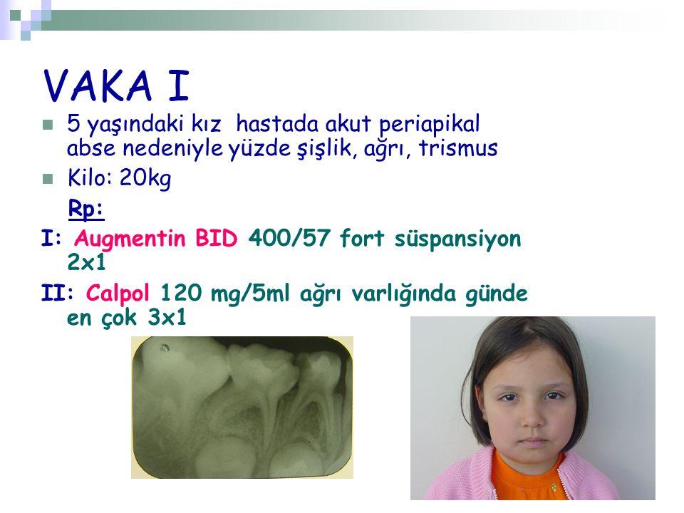 VAKA I 5 yaşındaki kız hastada akut periapikal abse nedeniyle yüzde şişlik, ağrı, trismus Kilo: 20kg Rp: I: Augmentin BID 400/57 fort süspansiyon 2x1