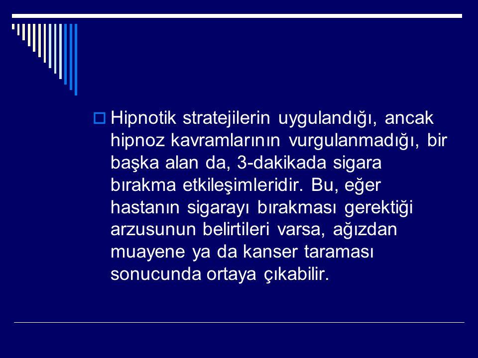  Hipnotik stratejilerin uygulandığı, ancak hipnoz kavramlarının vurgulanmadığı, bir başka alan da, 3-dakikada sigara bırakma etkileşimleridir.