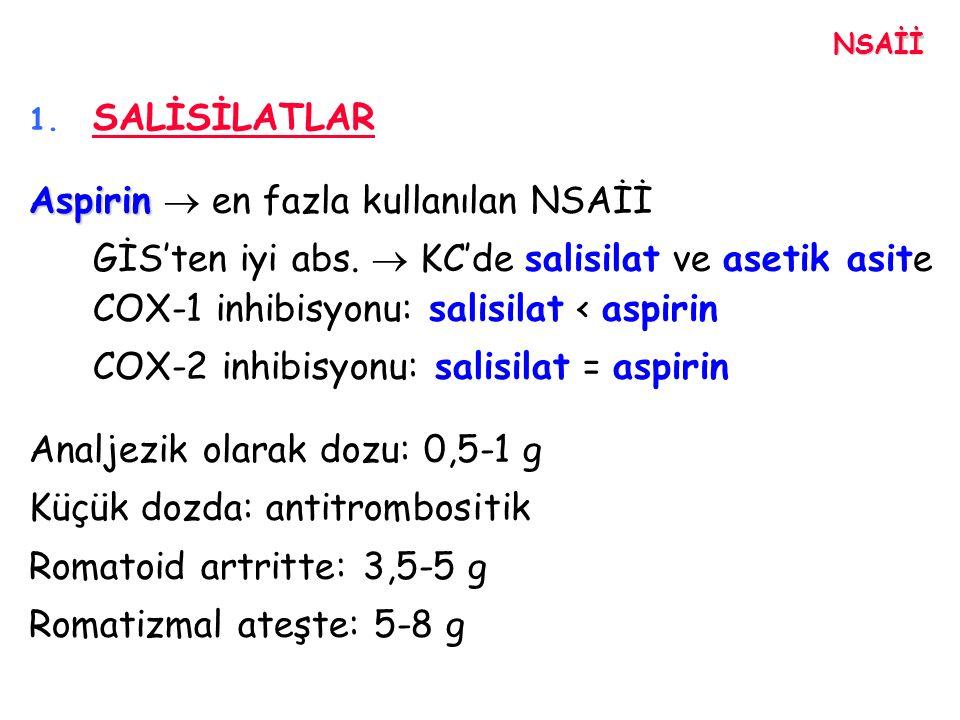 NSAİİ 1. SALİSİLATLAR Aspirin Aspirin  en fazla kullanılan NSAİİ GİS'ten iyi abs.  KC'de salisilat ve asetik asite COX-1 inhibisyonu: salisilat < as