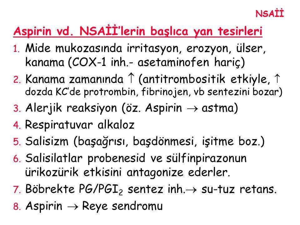 Aspirin vd. NSAİİ'lerin başlıca yan tesirleri 1. Mide mukozasında irritasyon, erozyon, ülser, kanama (COX-1 inh.- asetaminofen hariç) 2. Kanama zamanı