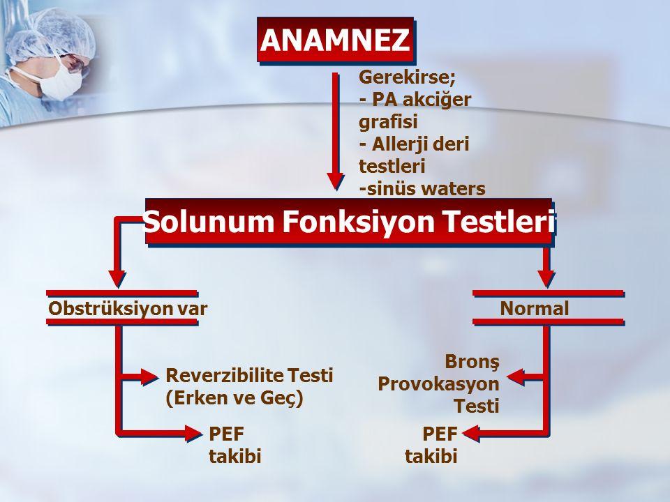 ANAMNEZ Solunum Fonksiyon Testleri Gerekirse; - PA akciğer grafisi - Allerji deri testleri -sinüs waters Obstrüksiyon varNormal Reverzibilite Testi (Erken ve Geç) PEF takibi Bronş Provokasyon Testi PEF takibi