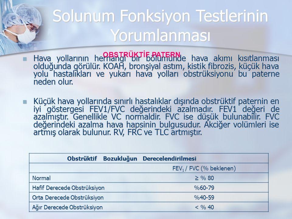 Solunum Fonksiyon Testlerinin Yorumlanması Hava yollarının herhangi bir bölümünde hava akımı kısıtlanması olduğunda görülür.